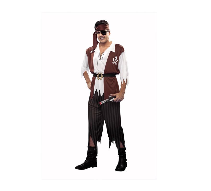 Disfraz de Pirata marrón para hombre. Talla M-L = 54/58. Incluye camisa con chaleco, cinturón, pantalón, cinta para la cabeza y parche. Trabuco No incluido, podrás verlo en la sección de Complementos.