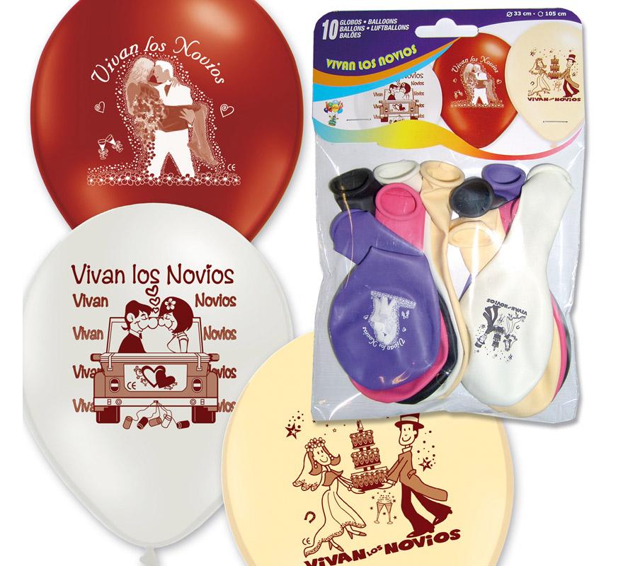 Bolsa con solapa de 10 globos 29 cm Ø de colores y modelos variados. Impresión VIVAN LOS NOVIOS. Perfectos para un día de Boda hacerle una agrdable sorpresa a los Novios. Marca Gran Festival.