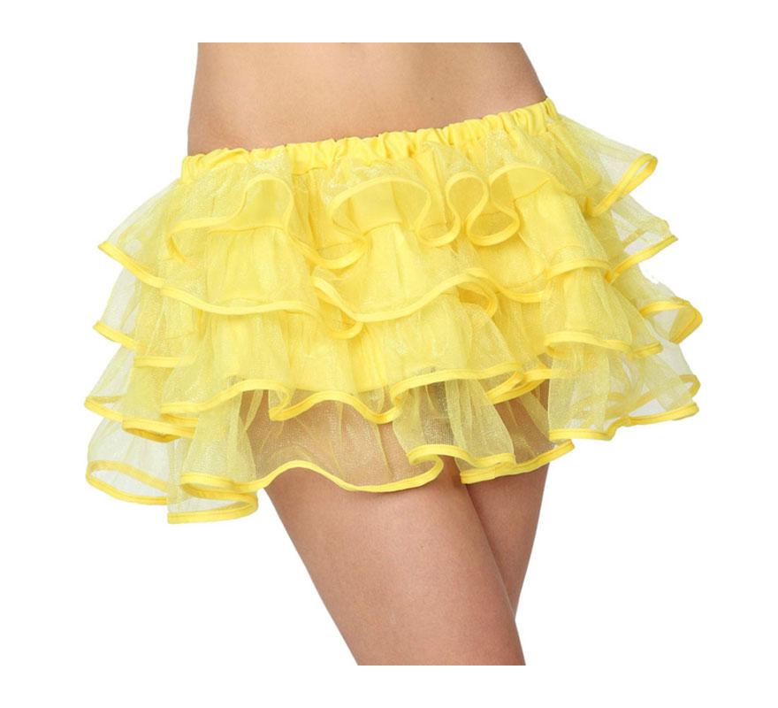 Falda con volantes amarilla neon para mujer talla M-L