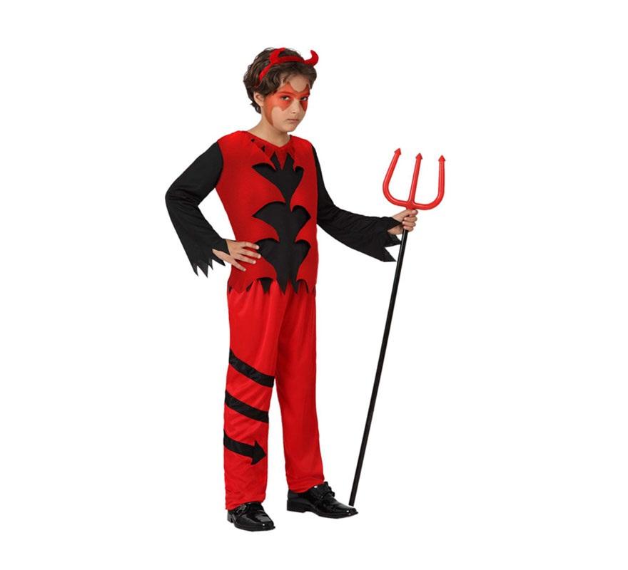 Disfraz de Diablo rojo para niños de 7 a 9 años. Incluye pantalón, camiseta y diadema con cuernos. Tridente NO incluido, podrás verlo en la sección de Complementos.