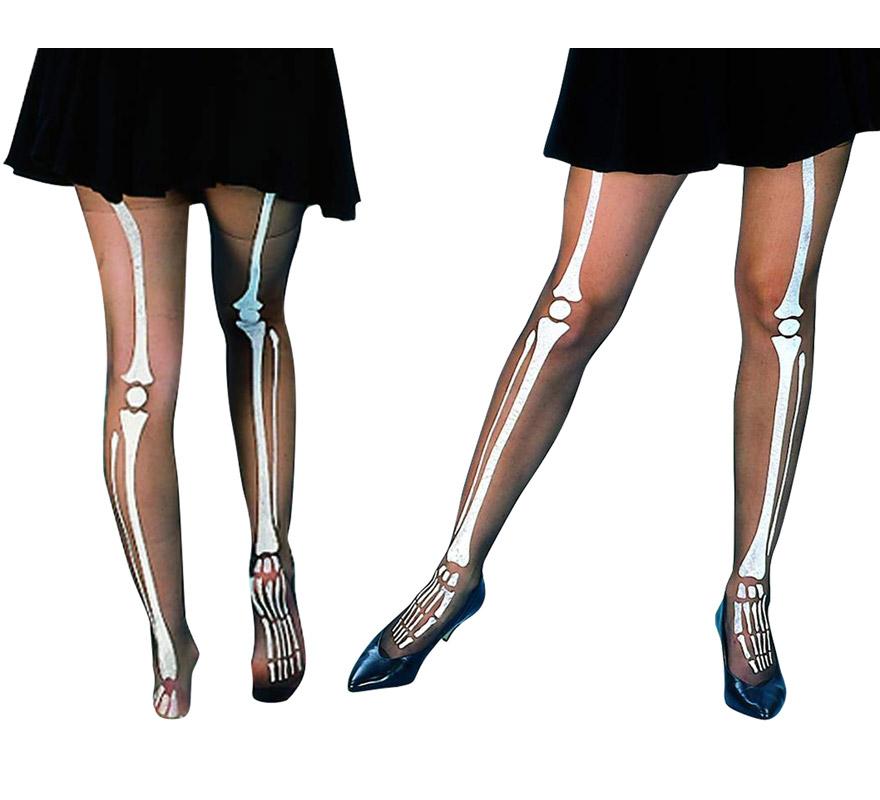 Pantys con huesos de Esqueleto impresos. Talla Universal. Perfectas como Complementos de los disfraces de Esqueletos para Halloween.