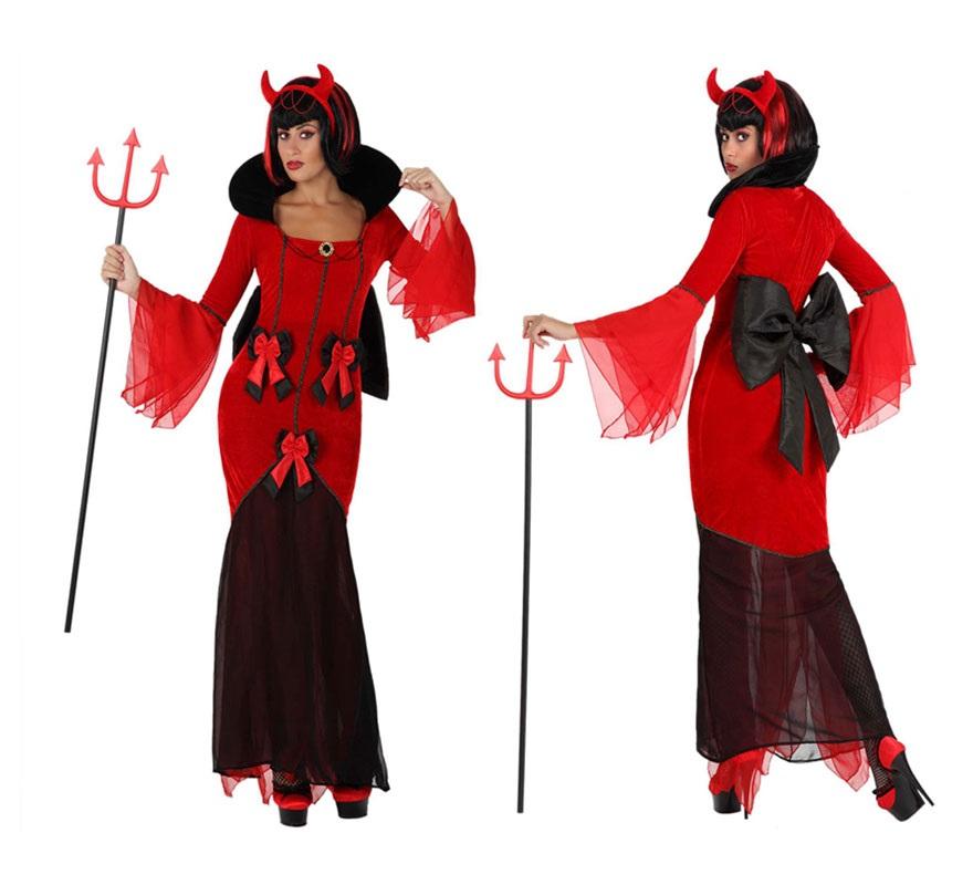 Disfraz de Diablesa con lazos para mujer. Talla M-L = 38/42. Incluye vestido y diadema. Tridente, peluca y zapatos NO incluidos. El tridente y la peluca podrás verlos en la sección de Complementos.