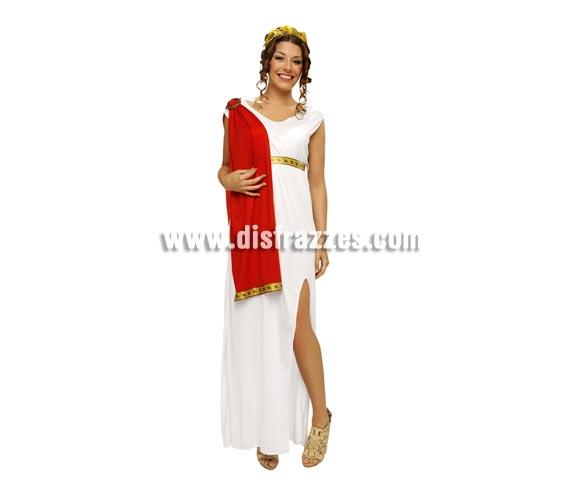 Disfraz de Diosa para mujer talla Standar M-L = 38/42. Incluye vestido con banda roja, tocado y cinturón.