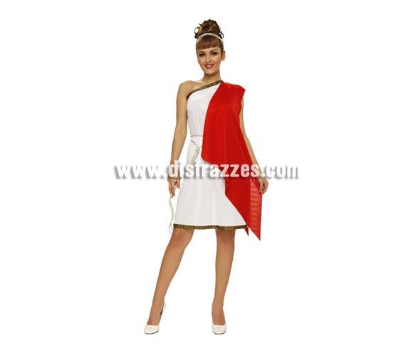 Disfraz de Diosa Griega para mujer. Talla standar M-L = 38/42. Incluye vestido con capa roja, cinturón y tocado.