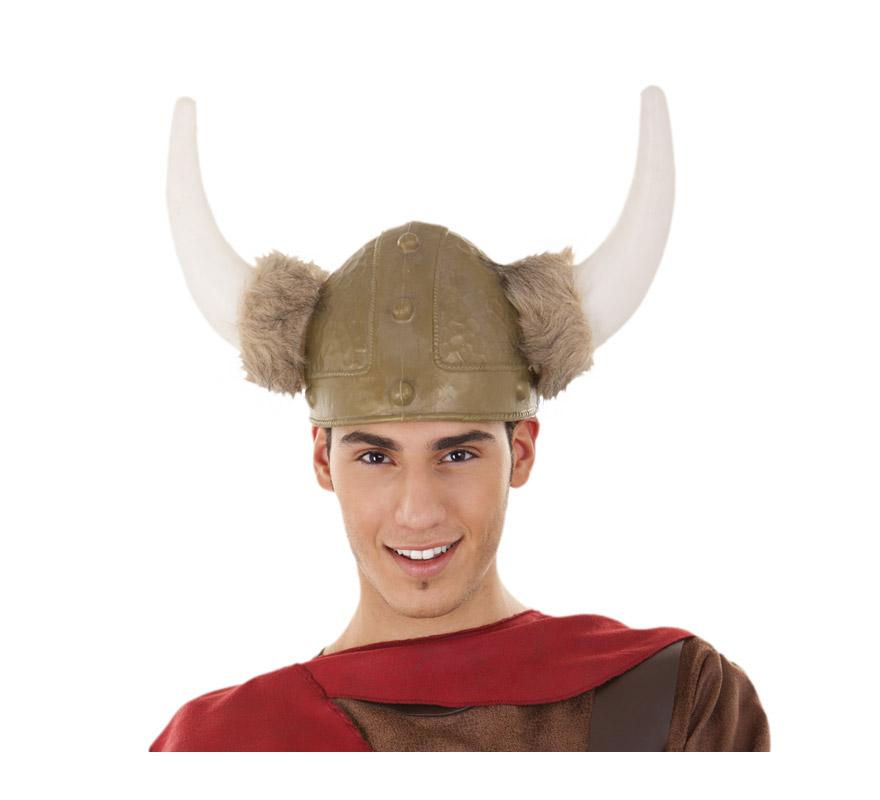Casco de Vikingo o Bárbaro con cuernos y pelo de 22 cm de diámetro.