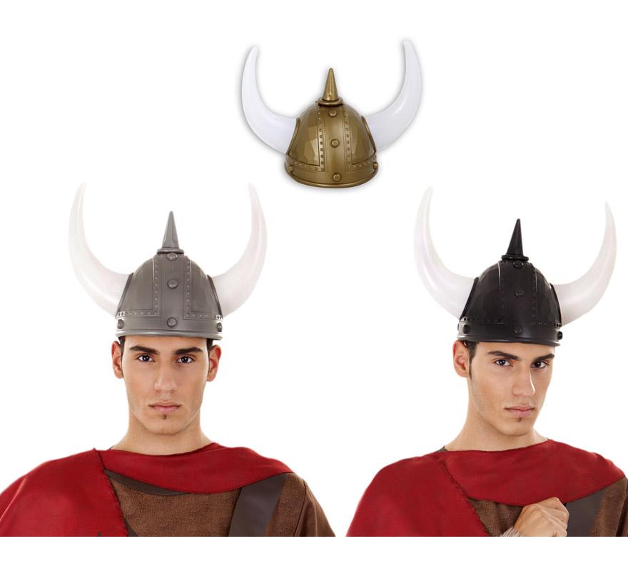 Casco Vikingo con cuernos blancos. Colores variados, precio por unidad, se venden por separado.