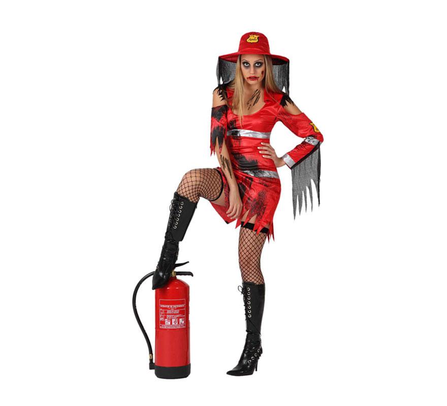 Disfraz de Bombera Muerta para mujer. Talla XL = 44/48. Incluye vestido y sombrero. Medias, cubrebotas y extintor NO incluidos, podrás verlos en la sección de Complementos.