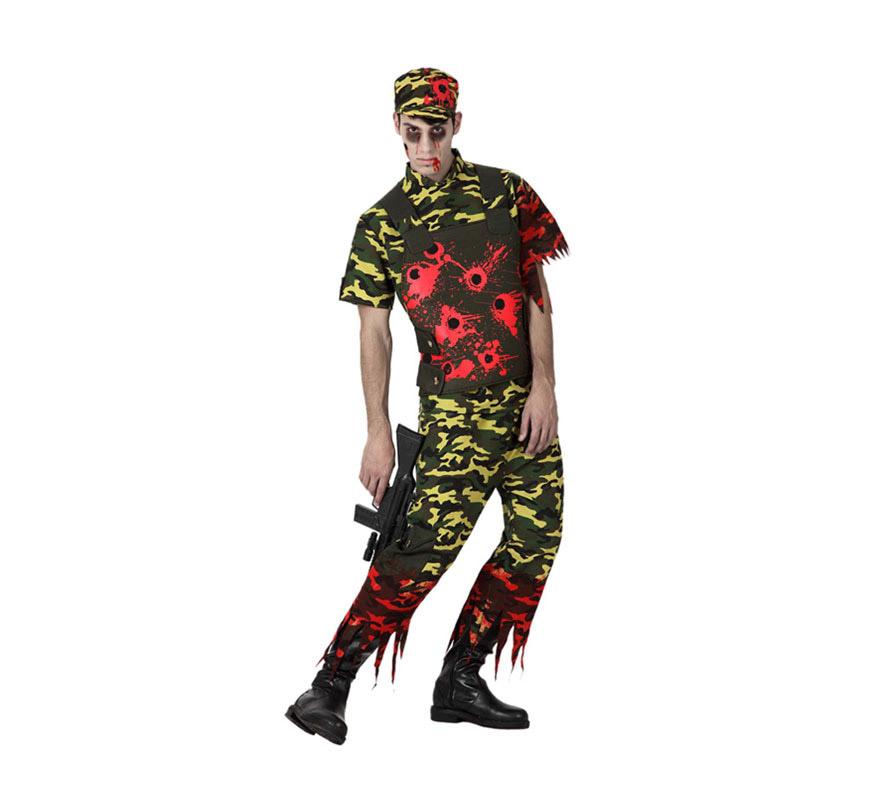 Disfraz de Militar Zombie para hombre. Talla M-L = 52/54. Incluye pantalón, camiseta con chaleco y gorra. La metralleta la podrás encontrar en la sección de Complementos.