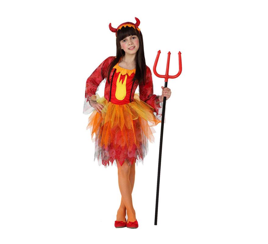 Disfraz de Demonia Fuego para niñas de 10 a 12 años. Incluye vestido y diadema con cuernos. El Tridente lo podrás ver en la sección de Complementos.