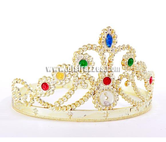 Corona o Tiara de plástico dorada de Princesa ajustable.
