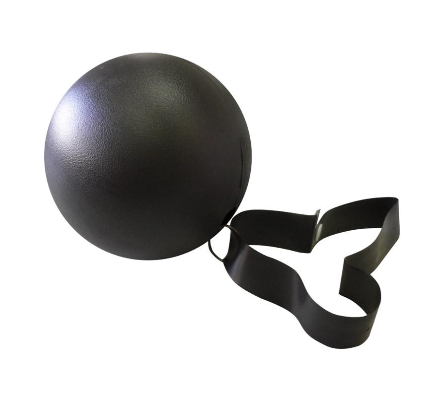 Bola de Tortura para Preso o Presidiario con cadena, de plástico. También para Halloween.