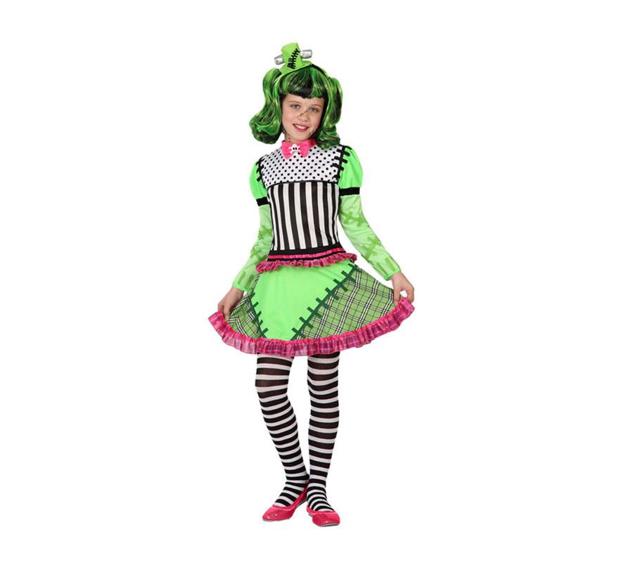 Disfraz de Monstruo Frankenstein para niña de 3 a 4 años. Incluye vestido. Tocado, peluca y medias NO incluido. La peluca y las medias las podrás ver en la sección de Complementos.