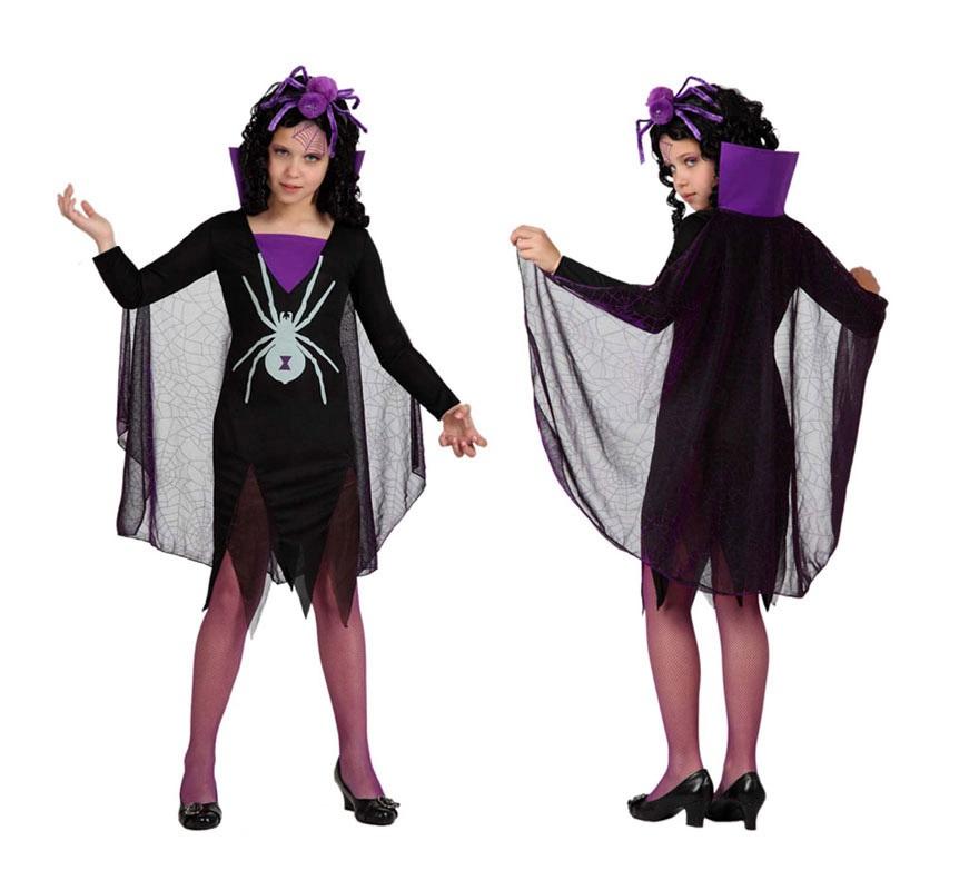 Disfraz de Viuda negra o Vampiresa Araña para niñas de 3 a 4 años. Incluye vestido y capa. Las medias las podrás ver en la sección de Accesorios.