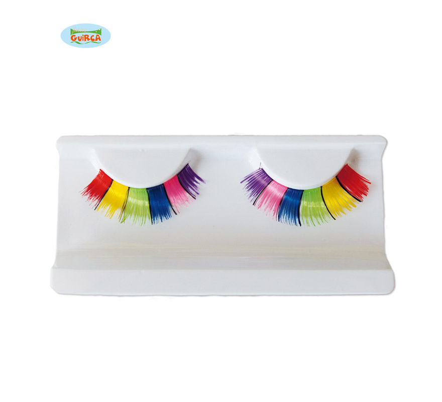 Pestañas Multicolor con pegamento.