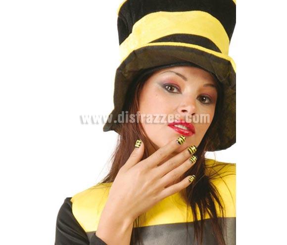 Caja de 24 uñas de Abeja para Carnaval. ¿Se te ocurre mejor complemento para un disfraz de Abejita?
