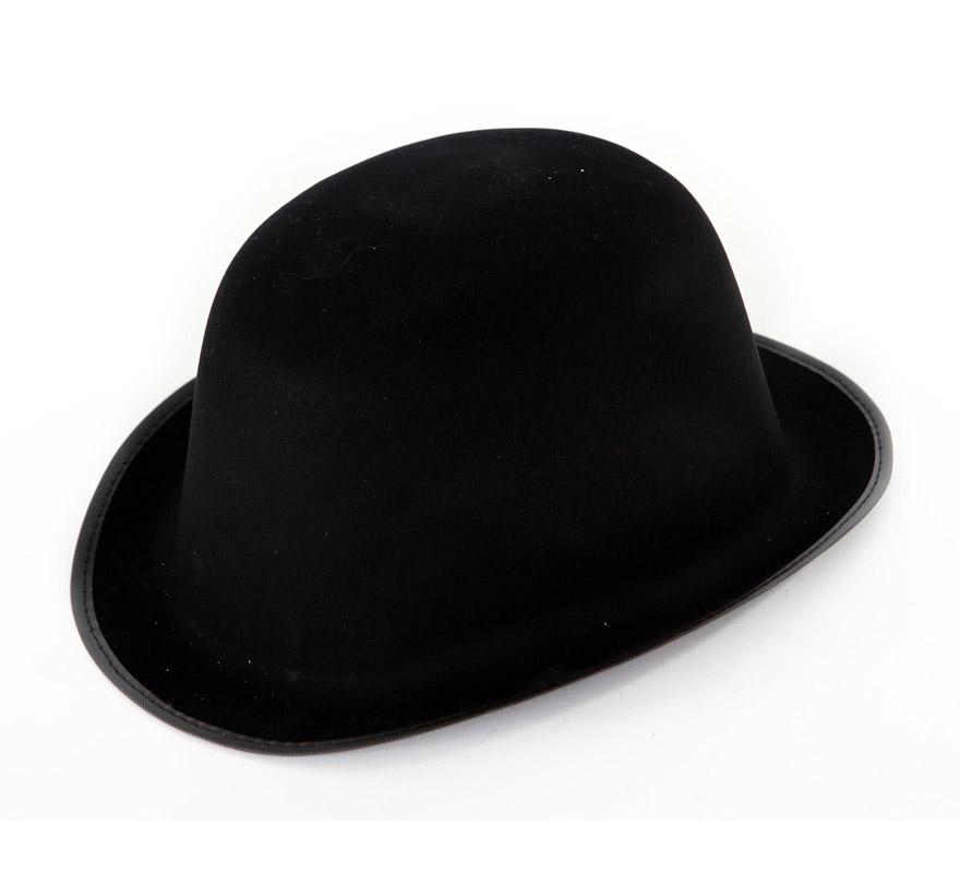 Sombrero Bombín flocado negro. Ideal para el disfraz de Charlie Chaplin.
