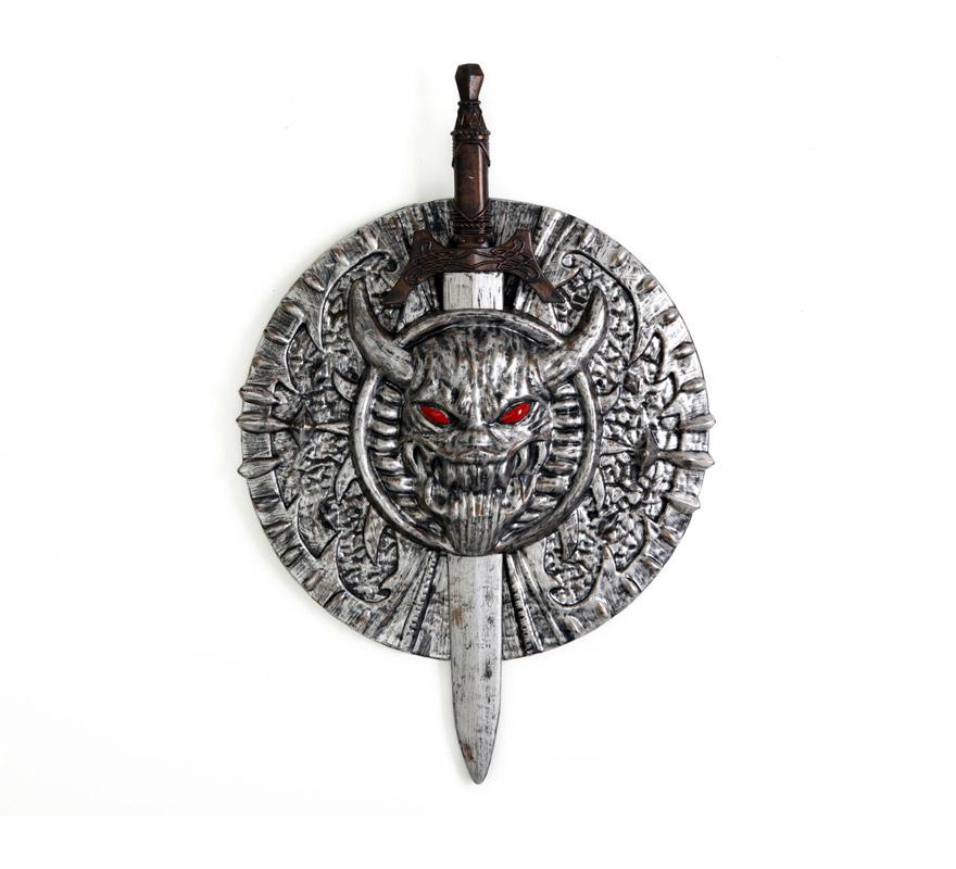 Escudo con espada Medieval plateado de 72 cm.