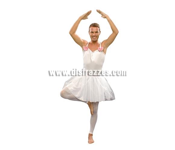 Disfraz de Bailarina blanca para hombre. Talla standar M-L = 52/54. Incluye cuerpo y falda. Mallas NO incluidas.