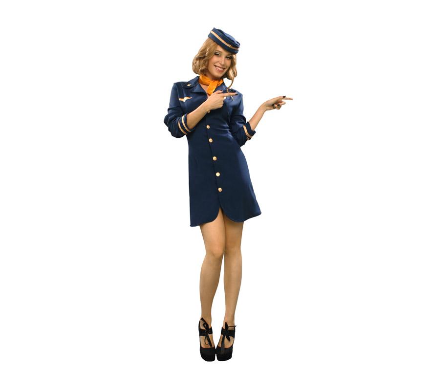 Disfraz de Azafata para mujer. Talla Standar M-L = 38/42. Incluye vestido, sombrero y pañuelo.