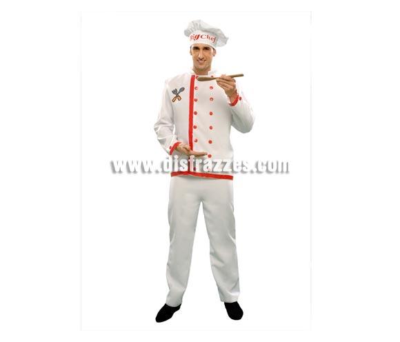 Disfraz de Cocinero o Cheff para hombre. Talla standar M-L = 52/54. Incluye chaqueta, pantalón y sombrero.