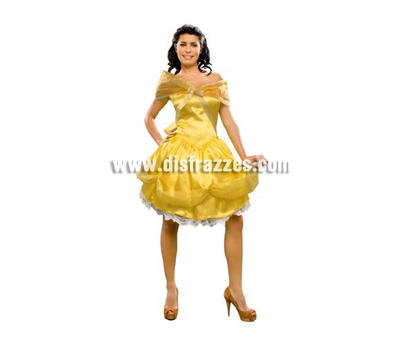 Disfraz de Princesa Bella amarilla mujer. Talla standar M-L = 38/42. Incluye vestido y tocado.