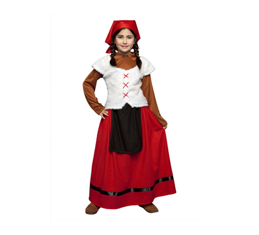 Disfraz de Pastora para niñas de 7 a 9 años. Contiene camisa con chaleco, falda con delantal y pañuelo de la cabeza. Disfraz de Pastorcilla o Pastorcita para Navidad.