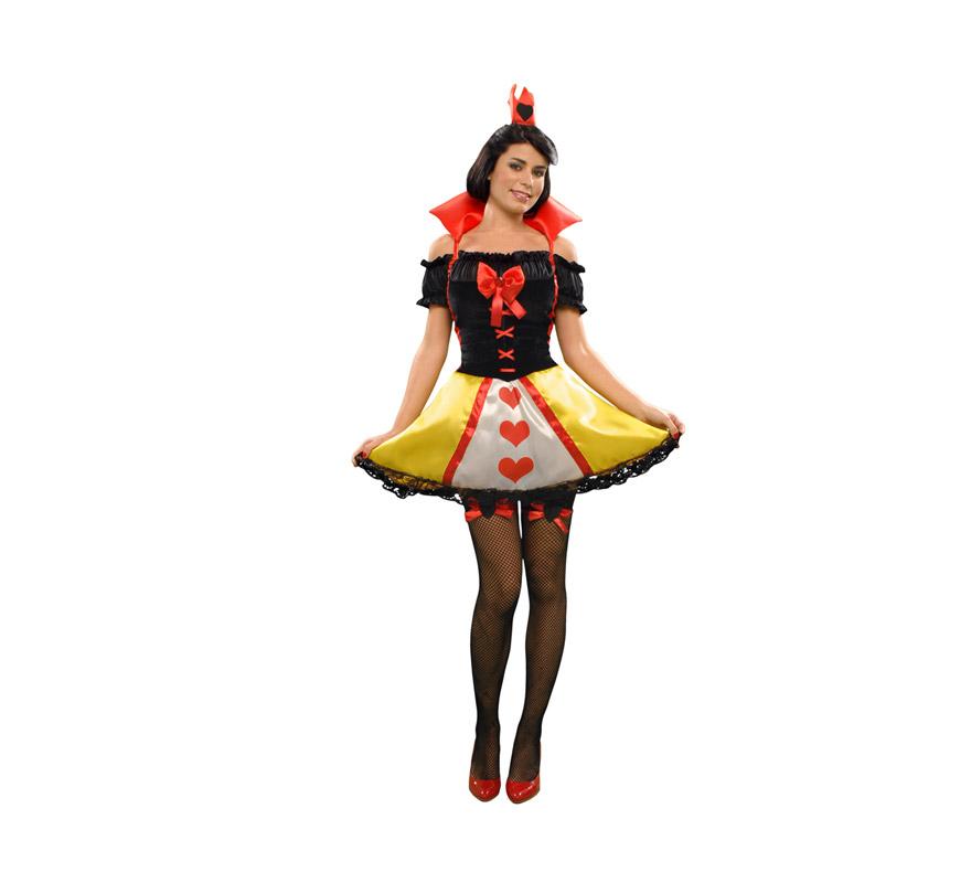 Disfraz de Princesa Corazones para mujer talla M-L 38/42. Incluye vestido, tocado y ligas. Medias NO incluidas, podrás verlas en la sección de Complementos.