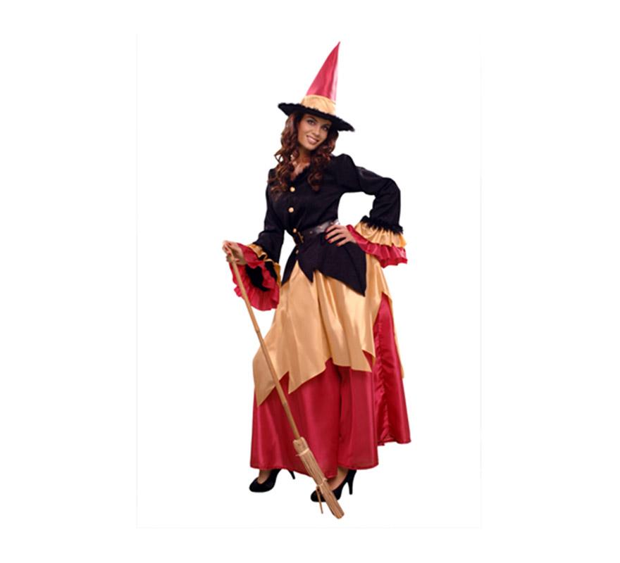 Disfraz de Bruja elegante para mujer. Talla standar M-L 38/42. Incluye chaqueta, falda, cinturón y sombrero.