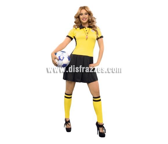 Disfraz barato de Árbitra de fútbol para mujer. Talla Standar M-L = 38/42. Incluye vestido y calentadores. Tenemos un silbato que lo podrás ver buscando la ref. 14224GUI.