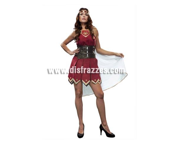 Disfraz de Guerrera para mujer. Talla standar M-L = 38/42. Incluye vestido con capa, cinturón y cinta de la cabeza.