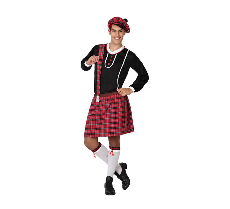 Disfraz de Escocés para hombre. Talla 2 ó talla M-L = 52/54. Incluye falda, camiseta y gorro.