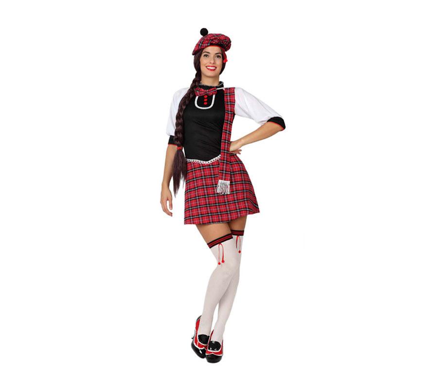 Disfraz de Escocesa Sexy para mujer. Talla 1 o talla S = 34/38 para chicas delgadas y adolescentes. Incluye vestido y gorro. Medias y zapatos NO incluidos. Podrás encontrar algunas medias en la sección de Complementos.