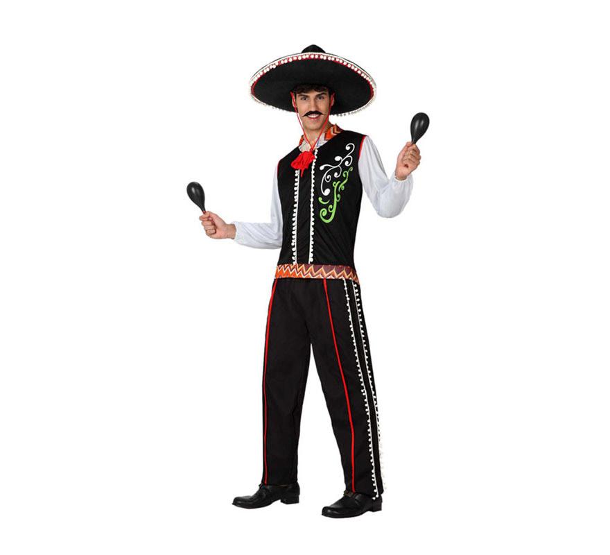 Disfraz de Mariachi Mejicano para hombre. Talla 2 o talla M-L = 52/54. Incluye camisa y pantalón. Sombrero y maracas NO incluidas, lo podrás encontrar en la sección de Complementos.