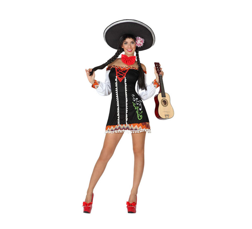Disfraz de Mariachi Sexy para mujer. Talla 1 ó talla S = 34/38 para chicas delgadas y adolescentes. Incluye vestido y pajarita. Sombrero, guitarra y zapatos NO incluidos. El sombrero Mejicano y la guitarra lo podrás ver en la sección de Complementos.