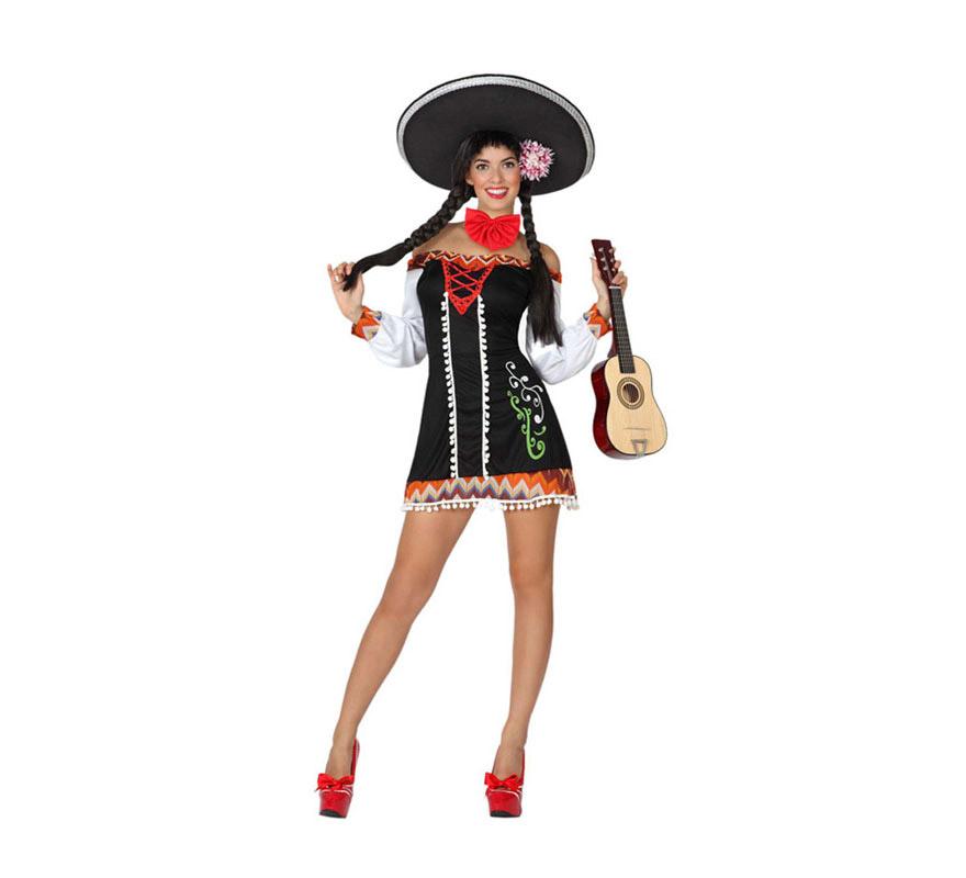 Disfraz de Mariachi Sexy para mujer. Talla 3 ó talla XL = 44/48. Incluye vestido y pajarita. Sombrero, guitarra y zapatos NO incluidos. El sombrero Mejicano y la guitarra lo podrás ver en la sección de Complementos.