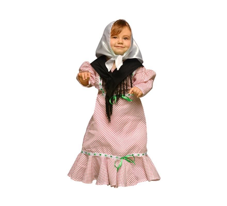 Disfraz de Madrileña o Chulapa para Bebés de 6 a 12 meses. Incluye vestido, pañuelo de la cabeza y mantoncillo. Perfecto para la Feria de San Isidro.