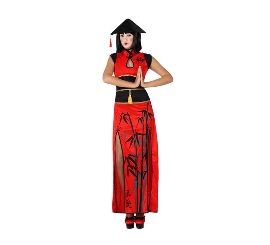 Disfraz de China rojo para mujer. Talla 1 o talla M-L = 34/38 para chicas delgadas y adolescentes. Incluye vestido y sombrero.