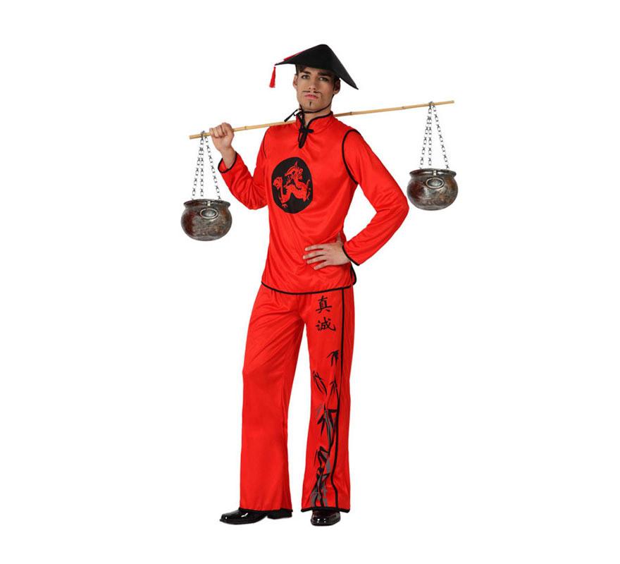Disfraz de Chino rojo para hombre. Talla 2 o talla M-L 52/54. Incluye pantalón, camiseta y sombrero.