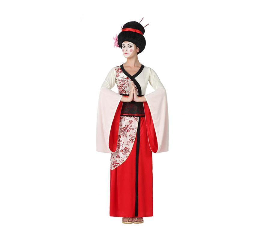 Disfraz de Geisha para mujeres. Talla 3 o talla XL = 44/48. Incluye vestido y fajín. Peluca NO incluida, podrás encontrar algunas en la sección de Complementos.