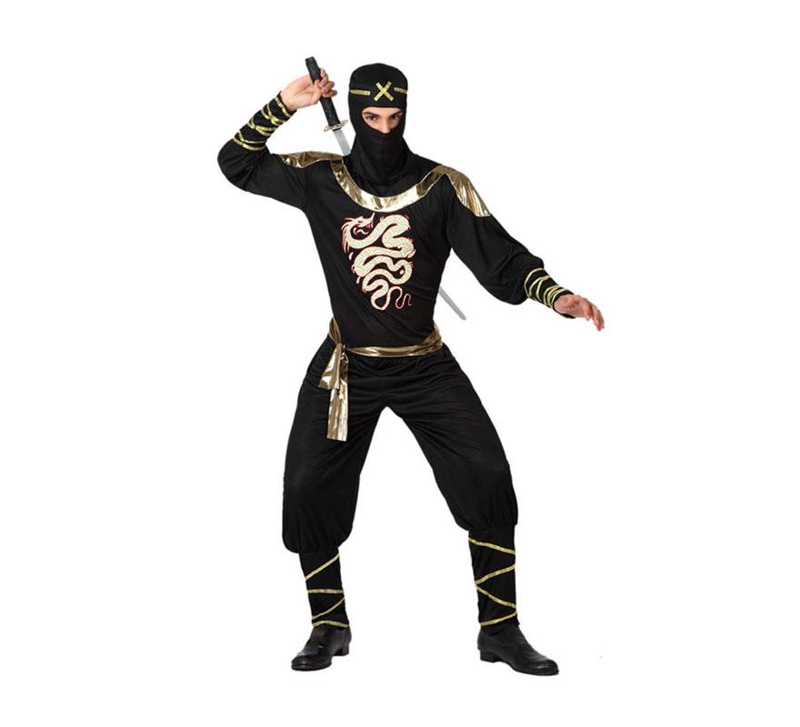 Disfraz de Ninja Dragón para hombre. Talla 2 o talla M-L =52/54. Incluye capucha, camiseta, cinturón y pantalón. Espada NO incluida, podrás encontrar en la sección de Armas.