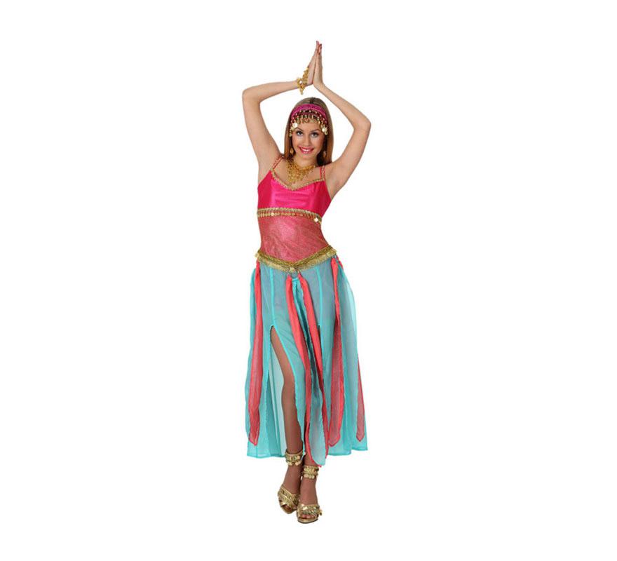 Disfraz de Bailarina Árabe para mujer. Talla S = 34/38 para chicas delgadas y adolescentes. Incluye vestido. Resto de accesorios NO incluidos, podrás verlos en la sección de Complementos. También podría valer como disfraz de Zíngara para mujer.