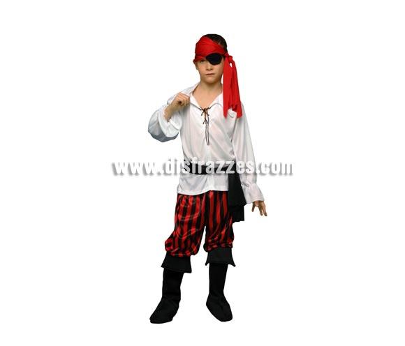 Disfraz barato de Pirata para niños de 7 a 9 años. Incluye camisa, pcntalón, cubrebotas, pañuelo y fajín.