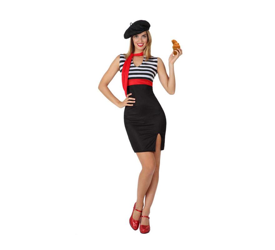 Disfraz de Francesa Sexy para mujer. Talla 3 ó talla XL = 44/48. Incluye vestido, pañuelo y gorro.