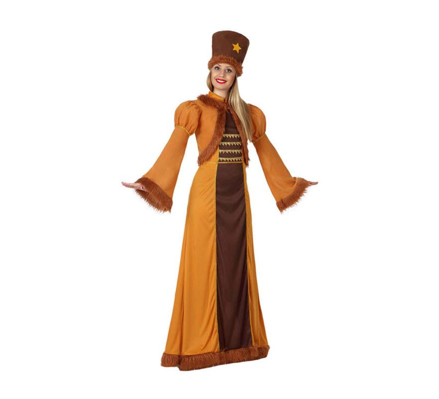 Disfraz de Rusa para chicas. Talla 1 o talla S = 34/38 para chicas delgadas y adolescentes. Incluye vestido, chaqueta y sombrero.