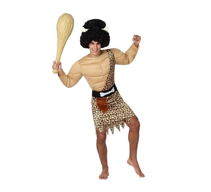 Disfraz de Cavernícola Musculoso o Troglodita Forzudo para hombre. Talla 2 o talla M-L = 52/54. Incluye pecho con músculos, túnica y cinturón. Maza y peluca NO incluidas, podrás verlas en al sección de Complementos.