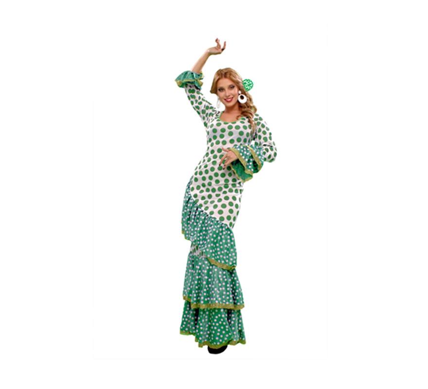 Disfraz de Soleá verde y blanco para mujer. Talla standar M-L = 38/42. Incluye vestido. Disfraz de Sevillana, Flamenca o Gitana para mujer.