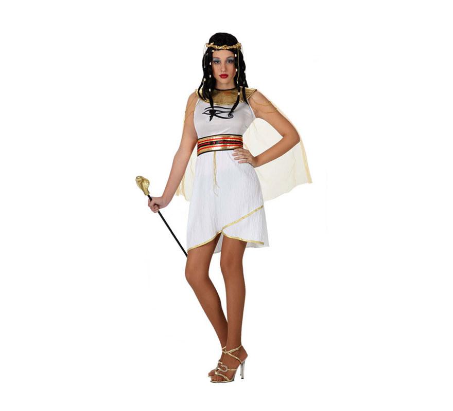 Disfraz de Egipcia ojo de Ra para mujer. Talla 3 o talla XL = 44/48. Incluye vestido con capa, cinturón y tocado. El cetro cobra y la peluca lo podrás encontrar en la sección de Complementos. Con éste disfraz y la peluca serás el vivo retrato de la Reina del Nilo, la histórica y sexy Cleopatra.