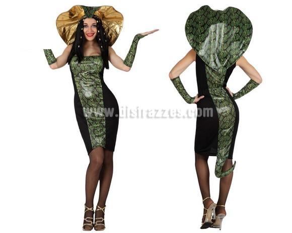 Disfraz de Mujer Serpiente o de Cobra para chicas. Talla 1 ó talla S = 34/38 para chicas delgadas y adolescentes. Incluye disfraz completo SIN medias, ni zapatos. Las medias las podrás ver en la sección de Complementos.