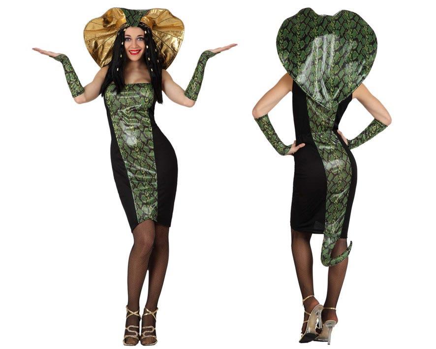 Disfraz de Mujer Serpiente o de Cobra para mujer. Talla 2 ó talla M-L 38/42. Incluye disfraz completo SIN medias, ni zapatos. Las medias las podrás ver en la sección de Complementos.
