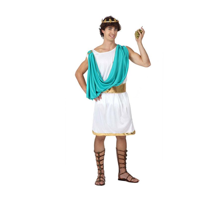Disfraz de Romano para hombre. Talla 2 o talla M-L = 52/54. Incluye túnica con manto, cinturón y corona. Sandalias NO incluidas.